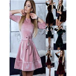 Fashion casual velvet dress princess dress women's bottoming shirt