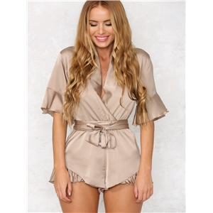 Satin Chiffon Sexy V-neck Ruffled Jumpsuit Belted Casual Jumpsuit