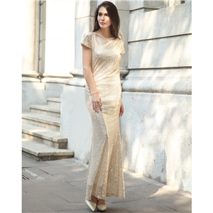Gold sequin dress evening dress sequin dress skirt pile collar dress long skirt
