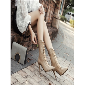 Apricot stiletto pointed cross straps bare boots high heels women