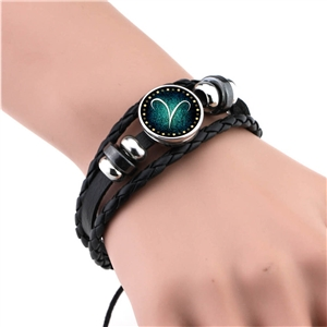 Hand-woven beaded retro diy constellation bracelet 12 constellation leather bracelet punk bracelet