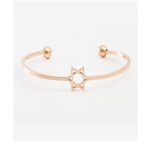 Hollow five-pointed star bracelet rose gold open bracelet six-pointed star female wild temperament popular bracelet