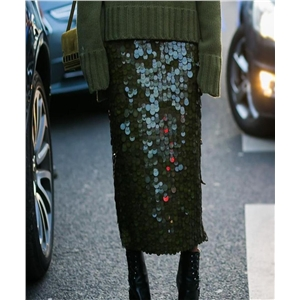 Bag hip slim bottoming skirt women's green sequins stitching high waist bottom skirt