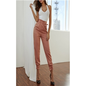 Casual loose trousers fashion solid color bandage lantern trousers female