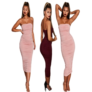Sleeveless Sling Dress Pink Pleated Hip Slim Pencil Skirt Sexy Nightclub Skirt