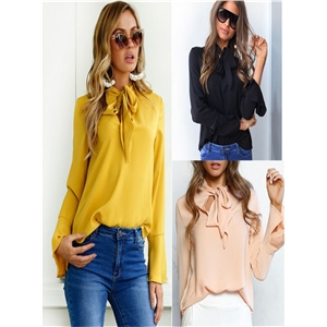 Tie long-sleeved shirt chiffon shirt