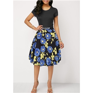 Blue high waist A-line skirt retro Hepburn rose print skirt