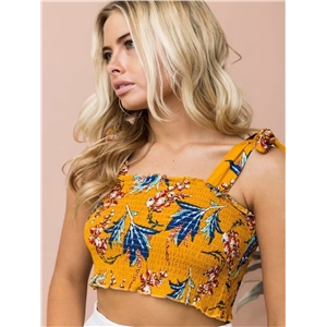 Yellow digital printed lace wrap chest vest