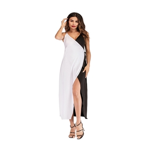 Sleeveless sling black and white colorblock dress