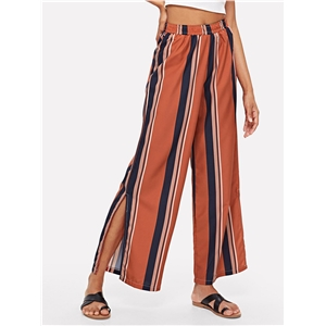 Striped split wide leg pants three colors