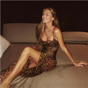 Sexy sling leaking leopard dress
