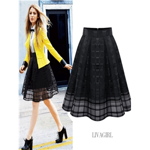 Pleated mesh skirt Skirt Plaid Organza Skirt Women's Skirt