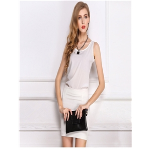 White blouse chiffon shirt sling bottoming shirt sleeveless chiffon vest