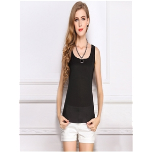 Black blouse chiffon shirt sling bottoming shirt sleeveless chiffon vest