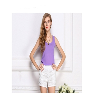 Purple Top Chiffon Shirt Sling Top Shirt Sleeveless Chiffon Vest