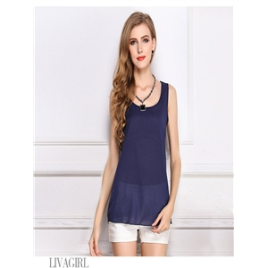 Navy blue blouse chiffon shirt sling bottoming shirt sleeveless chiffon vest