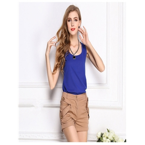 Royal blue shirt chiffon shirt sling bottoming shirt sleeveless chiffon vest