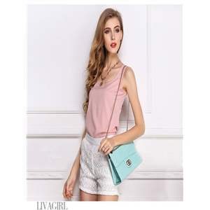 Pink blouse chiffon shirt sling bottoming shirt sleeveless chiffon vest