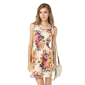 Summer large size vest dress Printed skirt Sleeveless floral chiffon dress