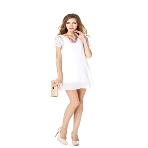 Stitched short-sleeved lace chiffon dress