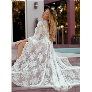 White sexy lace perspective lace-up beach skirt dress
