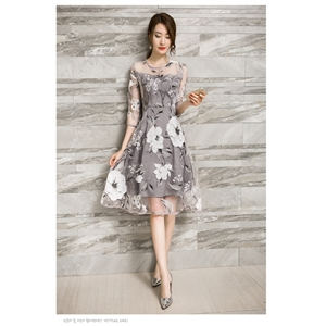 Fashion slim cropped sleeves round neck print organza dress