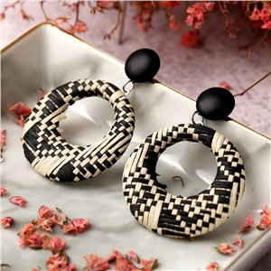 Creative fashion retro ethnic style openwork woven circle earrings