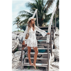 White Sexy Lace Long Sleeve V-neck Dress Bikini Blouse