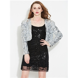 Sequin costume cardigan jacket fashion party evening dress stage performance clothing short female