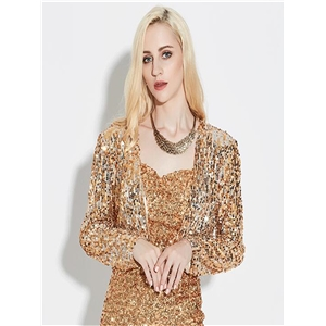 Gold sequined costume cardigan jacket fashion party evening dress stage performance clothing short female