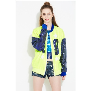 Fluorescent green hip hop style letter 88 long sleeve performance clothing street hipster zipper jacket female