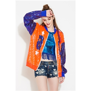 Orange hip hop style letter 88 long sleeve performance clothing street hipster zipper jacket female