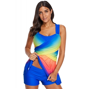 Color gradient skirt swimsuit sexy boxer split swimsuit bikini