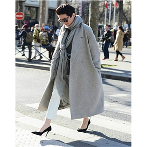 Fashion commuter professional women noble gray tie slim woolen coat women