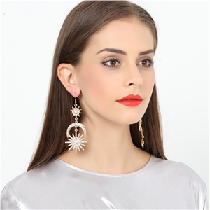 Six-pointed star earrings European and American fashion exaggerated sun moon earrings alloy earrings