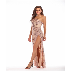 Sequined sexy backless sloping dress with high slit dress