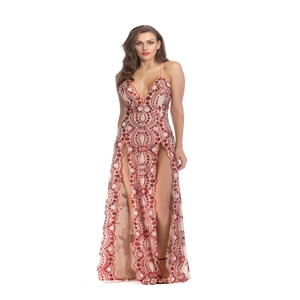 Sexy halter dress strap sequin split dress