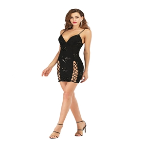 Black sequined halter sexy back dress