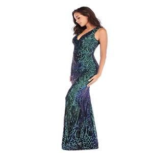 Dark green sexy deep V-neck dress magic color sequins long mopping dress