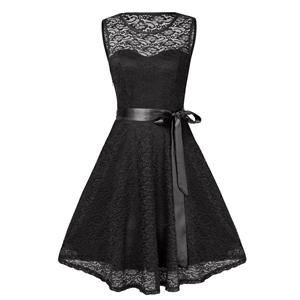 Sexy V-neck sleeveless full lace swing skirt