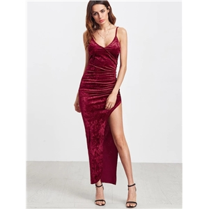 Velvet folds sling backless long slit sexy irregular dress female