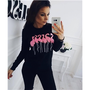 Flamingo Embroidered Pattern Loose Thin Round Neck Pullover Long Sleeve Sweatshirt