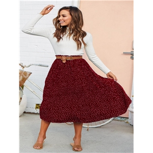 Fashion polka dot fungus long pleated skirt skirt