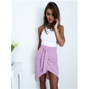 Spring and summer fashion sexy front V split sweet waist belt skirt