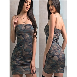 Summer personality camouflage strap sexy strap Slim bag hip dress skirt