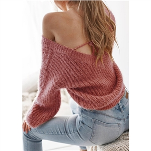 Spring and summer backless loose sweater top