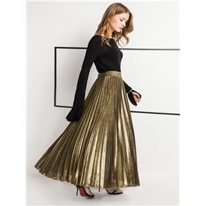 High-waisted pleated skirt, long skirt, large swing, golden beach skirt