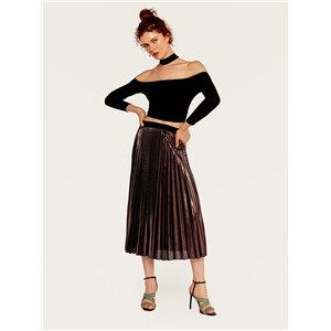 Pleated skirt long skirt batch slim high waist large bright color beach skirt female