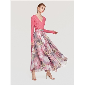 Bohemian long skirt beach skirt s floral wrapped chest silk skirt