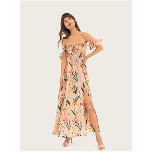 Bohemian Travel Holiday Skirt Tropical Print Shoulder Ruffled Long Dress